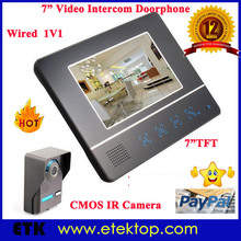 "New 7""LCD Color Video Doorphone Home/Office Wired Door Bell 2-way Intercom Infrared Camera With Rain Cover"