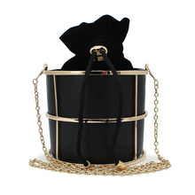 Bucket with metal frame box bag shoulder bag ladies handbag party messenger bag wedding purses (C155)