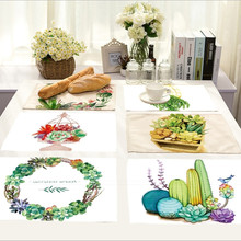 Wholesale Placemat Cotton Linen Succulent Plants Drawing Table Mat Dishware coasters For Dinner Accessories Cup Wine mat