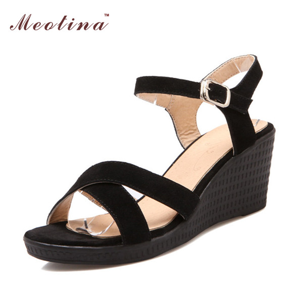 Natural Genuine Leather Women Sandals 2017 Ladies Platform Sandals Wedges Heels Real Leather  Open Toe Female White Black Shoes<br><br>Aliexpress