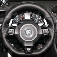 Steering Wheel Leather Cover Case for Volkswagen VW Golf GTI Scirocco Sagitar Genuine Leather DIY Wheel Covers Car-styling