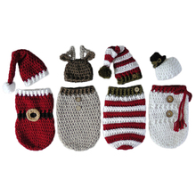 Newborn Baby Crochet Knitted Photography Wrap Christmas Bebe Santa Elk Sleeping Bag + Hat Xmas Costumes Photo Props Accessories(China)