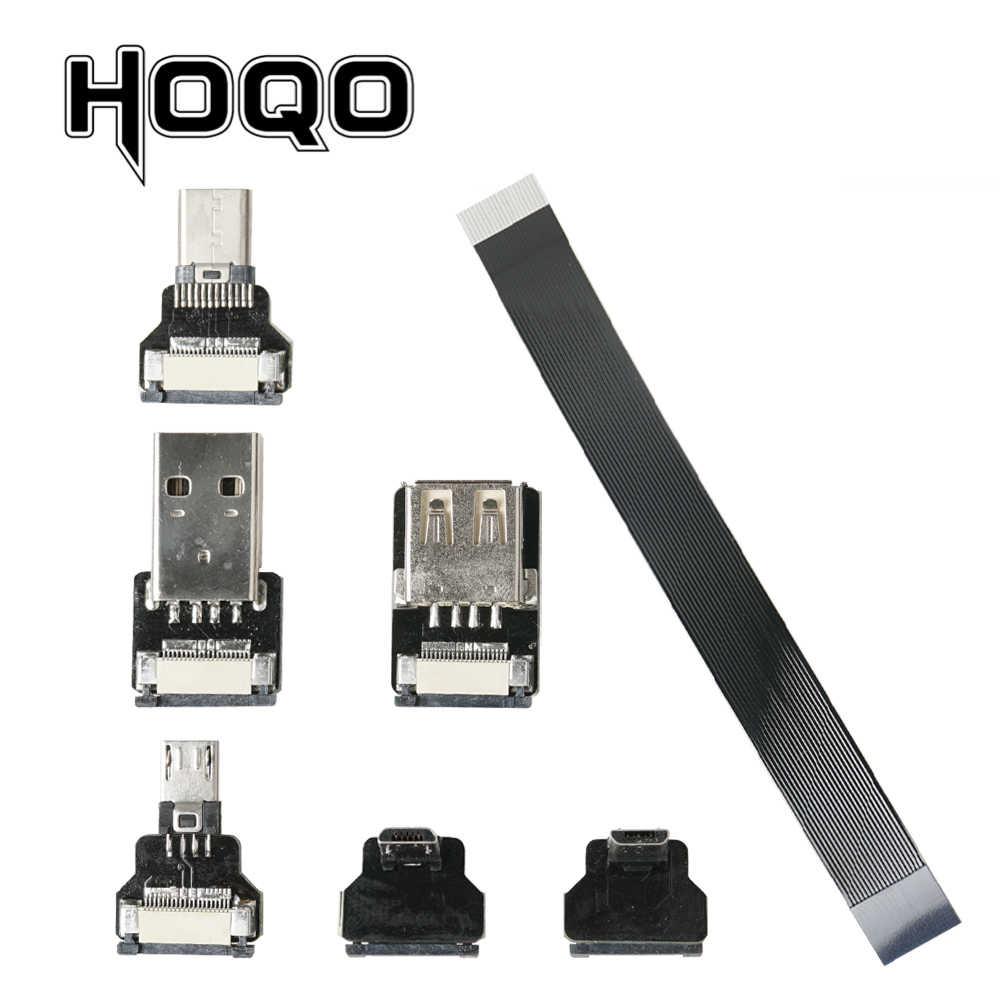 100CM Soft Flexible FFC Micro USB Angled FPV Flat Slim Thin Ribbon FPC Cable Micro USB 90 Degree Angled Male Plug to Standard USB A Female Receptacle Plug for sync and Charging Black