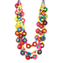 new design multilayer bohemia ethnic multicolors round coconut shell knitted necklace