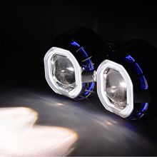 "LHD 3"" inch White Blue Red Double Angel Eyes CCFL Bi Xenon Hid Projector Lens H/L High Low 6000K Bulb + Shroud + H4 H7 Sockets"