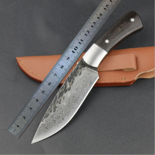 Outdoor Camping Knife 100% Hand-forged Pattern Ebony Handle Leather Sheath High Hardness Fixed Blade Fruit Knives Hand Tools