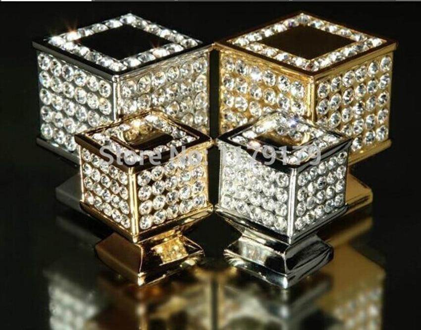 fashion deluxe glass diamond furniture decotation handles k9 crystal wine cabinet drawer knob golden silver dresser square pull<br><br>Aliexpress