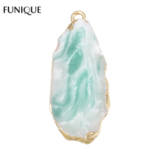 FUNIQUE Natural Stone Pendants For Making Jewelry Water Drop&Trangle Charms 1.5mm-2mm Hole size Pendants DIY Bracelets Necklace(China)