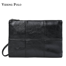 VIDENG POLO Brand Men Wallets Leather Clutch Bag Male Zipper Long Wallet Purse Black  Splicing Handy Bag Carteira Masculina