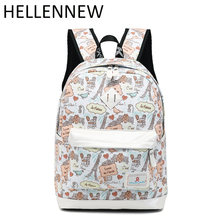 Hellennew Waterproof Set Backpacks School Bag for Teenage Girls Packbag Cartoon Bagpack Laptop Canvas Backpack For Women 101(China)