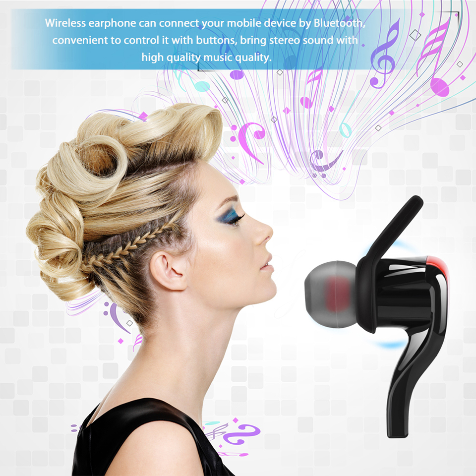 Fornorm BT-3 Wireless V4.1 Bluetooth Earphone In-ear Headphone Stereo Sweatproof Headset Earbuds for Sport Exercise