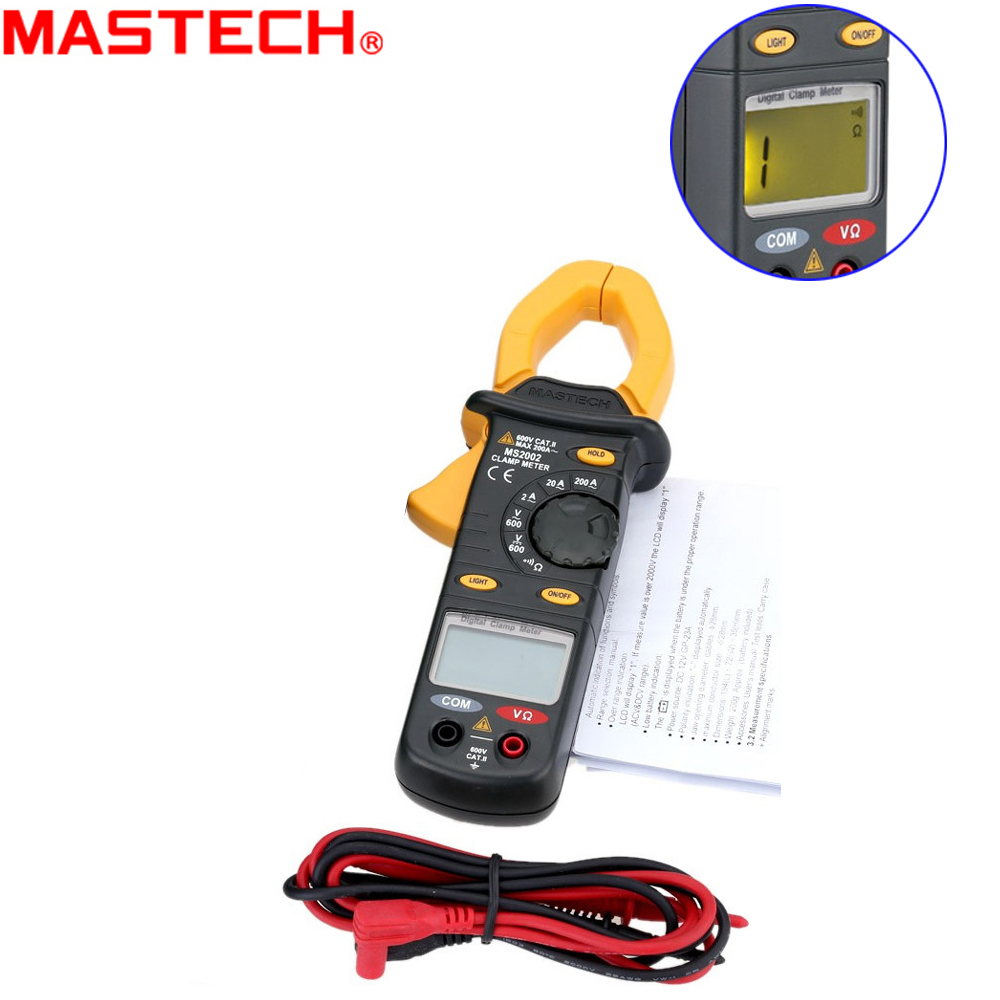 Mastech MS2002 3 1/2 digits Digital Clamp Meter Multimeter AC Current DC/AC Voltage Resistance Audible Continuity Measurement<br>