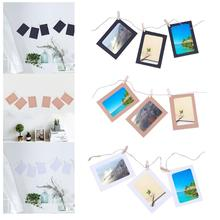 10pcs Photo frame +10pcs Wooden clips+1pc Rope 4 inch Wall Hanging Photo Paper Frame Picture Display Modern Art Home Decoration(China)