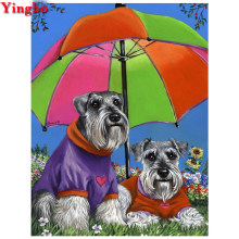 3d Diamond Embroidery schnauzer puzzle dog Color umbrella Diamond painting Cross Stitch cute pet Mosaic Painting Rhinestones(China)