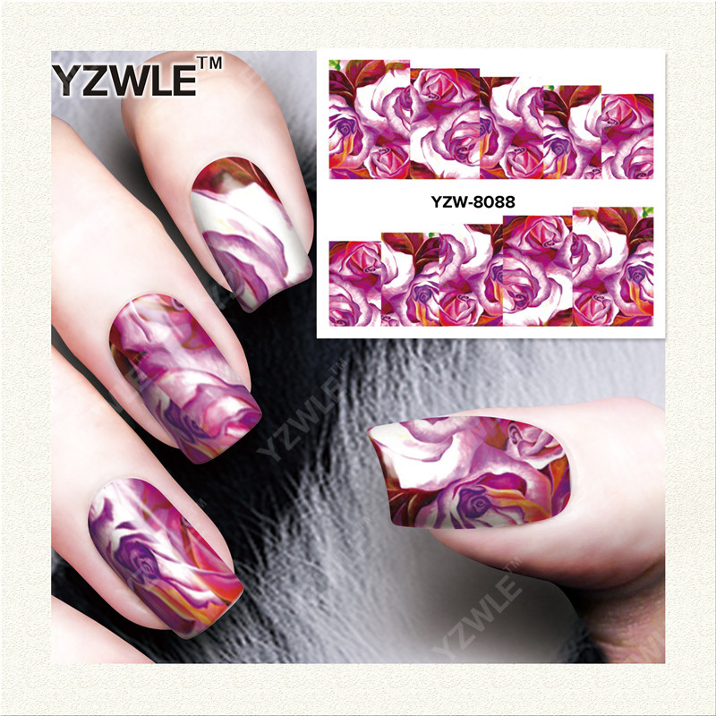 YZWLE 1 Sheet DIY Decals Nails Art Water Transfer Printing Stickers Accessories For Manicure Salon  YZW-8088<br><br>Aliexpress