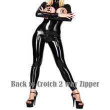 Buy Women Sexy Wet Look Pu Faux Leather Jumpsuits Black PVC Catsuit Teddy Clubwear latex Bodysuit Zip Stripper Catwoman Costumes