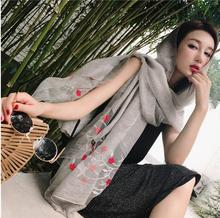 High Quality new luxury elegant hand embroidery wool silk Female fashion scarf solid color wild scarves Ladies shawl wrap(China)