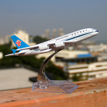 16 cm Alloy Metal China Southern Airlines A380 Airplane Model Airbus Stand Aircraft For Home Decoration(China)