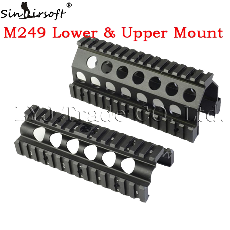 Aluminum CNC M249  Lower and Upper Scope mount Handguard 6pcs RIS Rails System Hunting Shooting Tactical Quad Rail Mount<br><br>Aliexpress