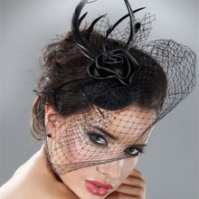 Mini Hat Wedding Bridal Birdcage Veil With Black Black Feather Blusher Fascinator Black Tulle Hair Flower Hat In Stock 18057