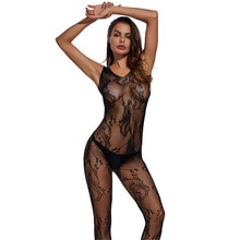 Buy Hollow Sexy Pantyhose Open Crotch Fishnet Tights Black Jacquard Seamless Body Stockings Transparent Sexy Lingerie Women
