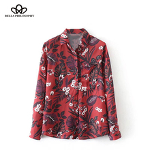 Bella Philosophy 2017 Winter Floral Printed Blouse Shirt Women Casual Long Sleeve Shirt Red Female Loose Basic Blouse Shirt(China)