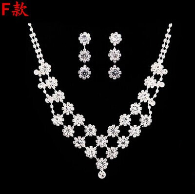 High Quality Silver Luxury Oversize Crystal Wedding Jewelry Sets Hollow-out Flower Necklace&Earrings Set For Woman (3)