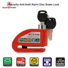 KKmoon Red Bicycle Anti-theft Alarm Lockers Motorcycle Scooter Disc Brake Lock Security(China)