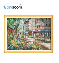 noneroom Paris Flower Market Counted Cross Stitch 11CT 14CT Cross Stitch landscape Cross Stitch Kits Embroidery