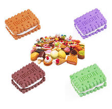 4 pcs a set Article 4 Rooms Game Fun Food Rubber pencil eraser cookie eraser sponge(China)