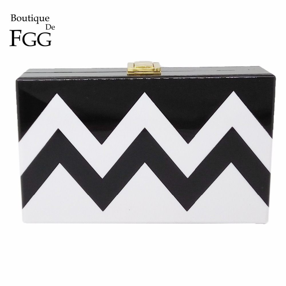 Womens Handbags Black &amp; White Striped Wave Acrylic Evening Bag Clutches Box Clutch Hardcase Wedding Dinner Bridal Shoulder Bags<br><br>Aliexpress