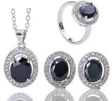 Elegant ladies gilt oval zircon bridal suite (pendants, rings)(China)
