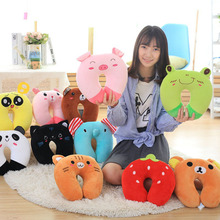 Anime Cartoon U Pillow Cute Animals Frogs Tiger Rabbit Pig Easy Bear Panda Black Cat Fruit Comfort Neck Travel Rest Cushion 1pc