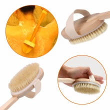 1Pc Natural Long Wood Handle Bristle Body Brush Massager Bath Shower Back Spa Scrubber Body Bath Brush