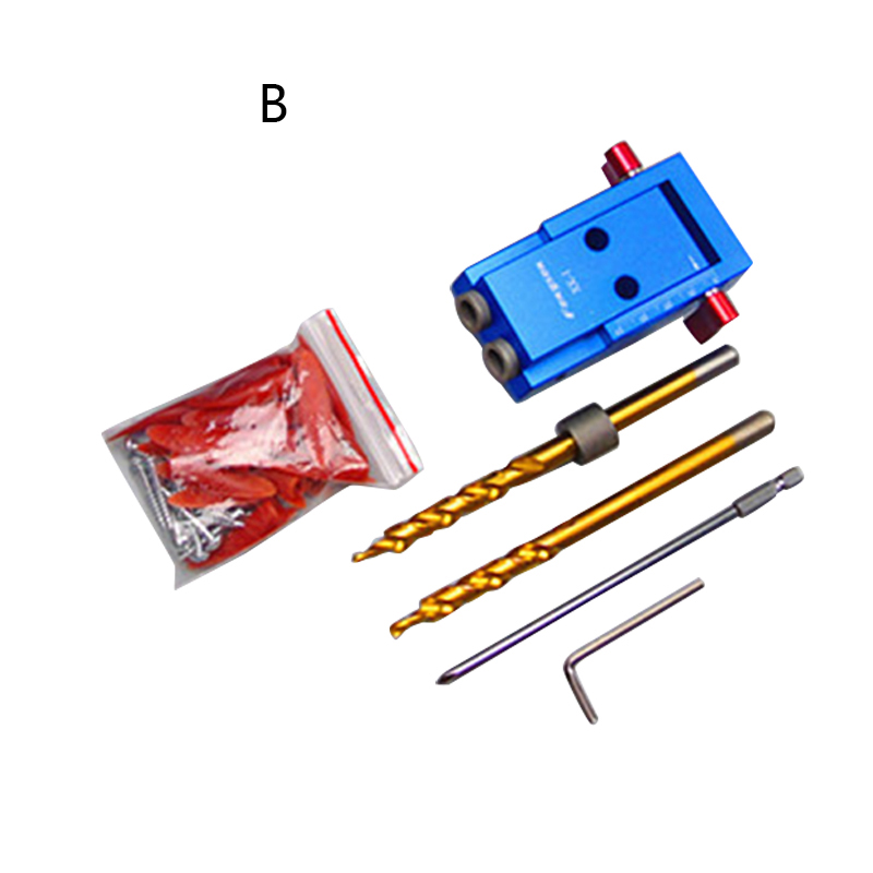 Mini Style Pocket Hole Jig Kit System For Wood Working &amp; Joinery + Step Drill Bit &amp; Accessories Wood Work Tool Set 1 pc<br>