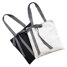 New Arrival Solid Plain Black White Handbag High Quality Portable Blank Shoulder Bag Girl's Lovely Shopping Bag with Ribbons