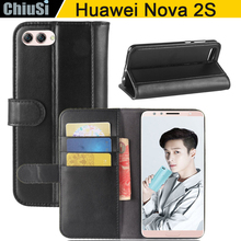 Flip Wallet Style Bovine Skin Leather Case Cover For Huawei Nova 2S Magnetic With Slot Holders Stand Function(China)
