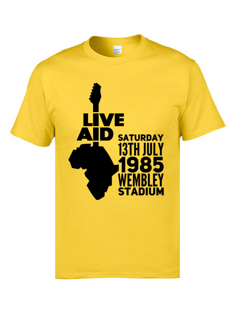 Live aid 9622 T-shirts for Men Family Labor Day Tops Shirts Short Sleeve 2018 New Slim Fit Tee-Shirt Crew Neck 100% Cotton Live aid 9622 yellow