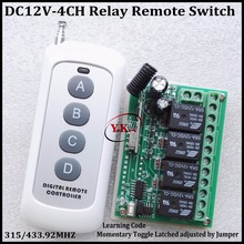DC 12V 4CH Relay Receiver Transmitter RF Remote Control Switch Wireless Controller 315/433 Long Range Remote Switch 50-1000m(China)