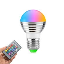 1PCS E27 AC110V 220V 230V 240V RGB LED Ball Bulb Color Changeable Night Light For Party Holiday Decoration Lamp + EU Plug
