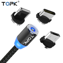 TOPK LED Magnetic USB Cable For iPhone 6 7 8 Plus 5s SE iPad Air Charger Cable USB Type C & Micro USB Cable Magnetic Adapter(China)