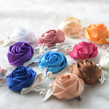 Silk Flower Man Corsage Groom Boutonniere Handmade Satin Ribbon Roses Wedding Party Prom Man Suit Corsage Pin Brooch S6207(China)
