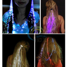 1pcs Glow Blinking Hair Clip Flash LED Braid Show Party Decoration Colorful Luminous Braid Optical Fiber Wire Hairpin Christmas(China)