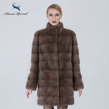 Athena Special Long Fur Coat Luxury Women Real Mink Coat Detachable Sleeve Casual Type Ladies Genuine Mink Fur Coat Medium Slim(China)