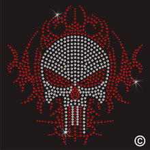 2pc/lot Mean Skull Iron On Rhinestone Transfer hot fix rhinestone transfers iron on crystal transfers design(China)