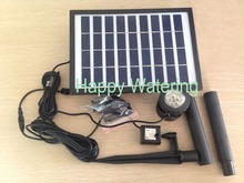 5W 280L/H Pond Fountain Solar Fountain Solar Water Pump+ Battery + 12 LEDS Light for Garden