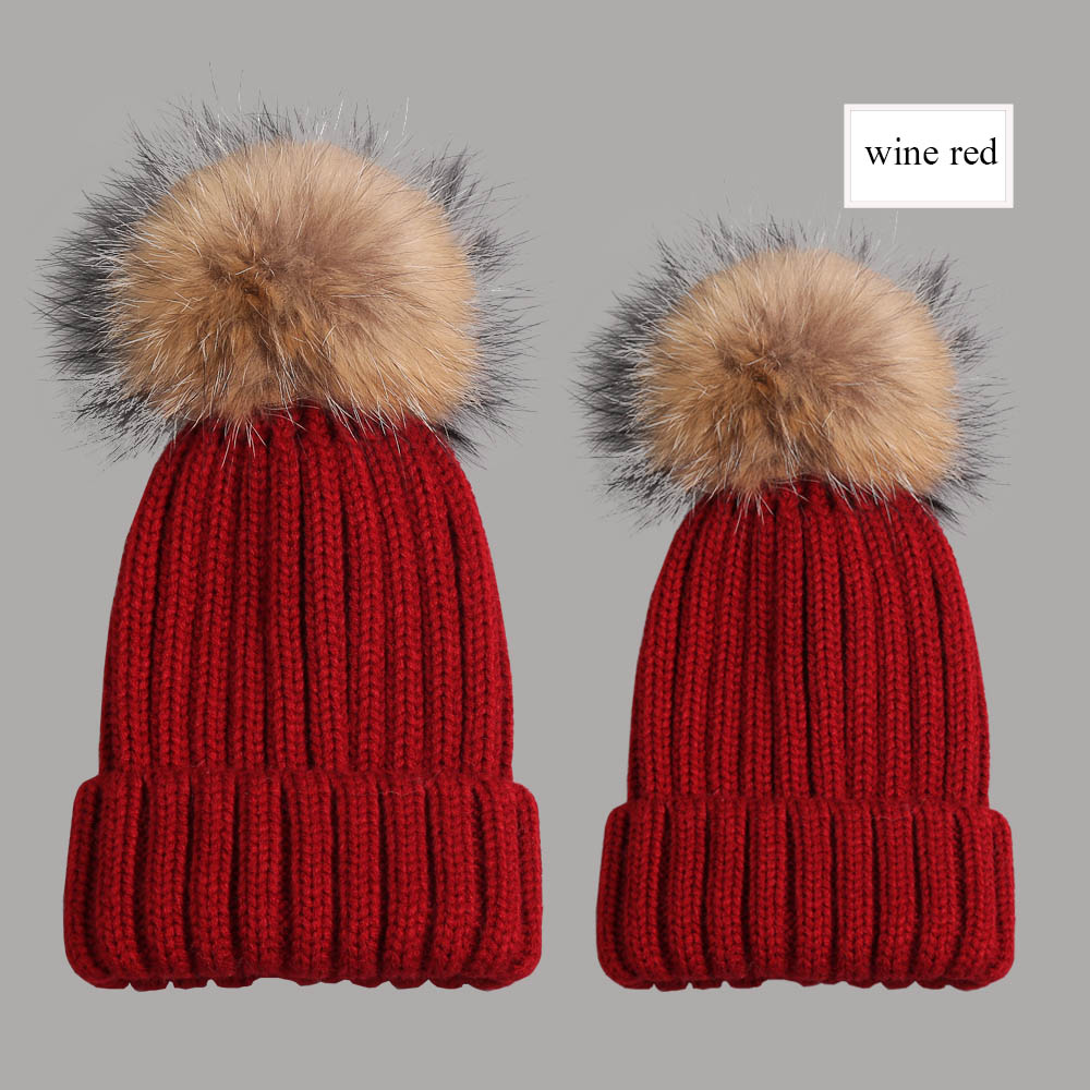 beanies with pompom thick wine red