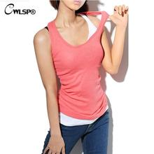 CWLSP 2017 Summer Women Tank tops 100% Cotton camis o-neck tight-fitting thread vest women Cheap camisole Camis 17 colors(China)