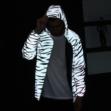 Summer Lovers Plus Size 2017 Men Jacket Casual Hip Hop 3M Reflective Jackets Male Hooded Zebra Pattern Stripe Fluorescent Coat(China)
