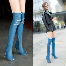 Women Fashion Fish Mouth Cowboy Boots 2017 Autumn Sexy Over Knee High Denim Boots Female High Heels Boots Botas Altas Mujer